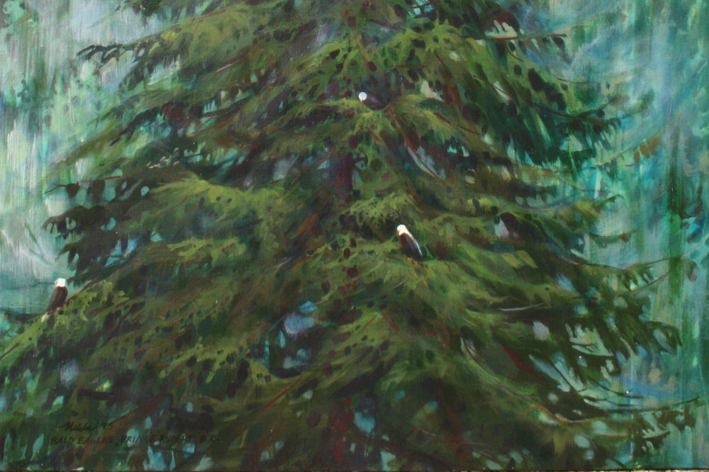 Bald Eagles, Prince Rupert BC, Canada lower detail of 44H x 30W inches, acrylics on canvas