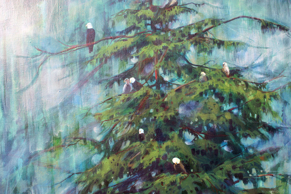 Bald Eagles, Prince Rupert BC, Canada, central detail of 44H x 30W inches, acrylics on canvas