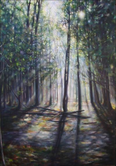 Morning Light, 59H x 40W x 2D inches acrylics on canvas, sides wrapped, narrow frame stained dark brown
