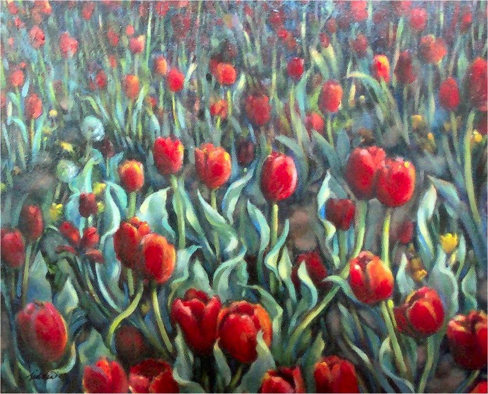 Dandelions Among the Tulips, work in progress