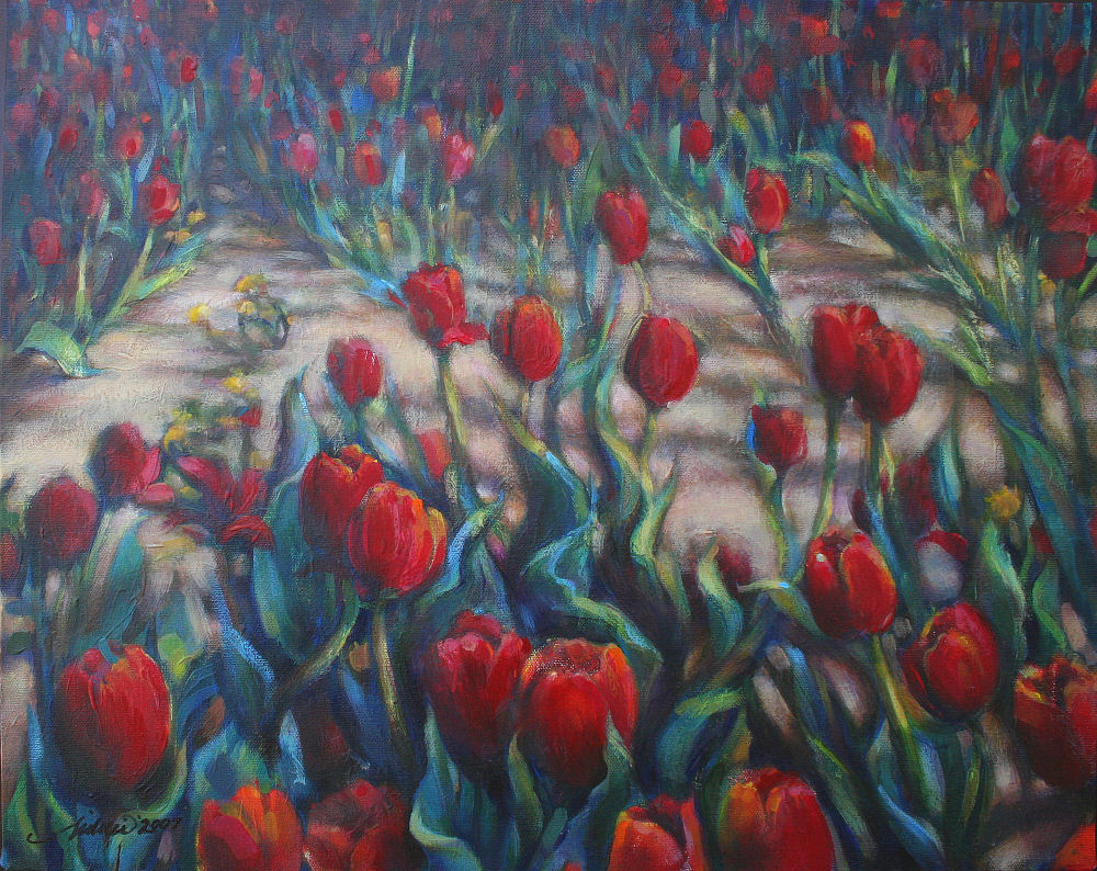 Dandelions Among the Tulips, 16H x 20W inches acrylics on canvas without frame