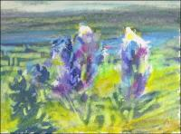 Bluebonnets Abstract 01, 3 x 4 inches oil pastels on paper