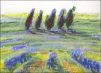 Bluebonnets Abstract 03, 3 x 4 inches oil pastels on paper