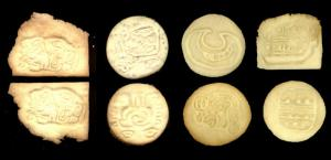 Culture Cookie samples: Wind God, North, Moon, serpent architectural detail, South, breath or essence within, book
