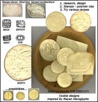 Culture Cookies: 1. adapted designs from heiroglyphs, stone carvings, architecture 2.experimented with materials, final stamps: carving and rebuilding lines into polymer clay 3.tried various recipes 4.baked cookies, an Art to get them evenly browned and perfectly stamped