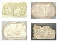 Mayan Wind God - four stamp samples trying out materials and methods to create the best cookie stamps - stamp in the second image works best