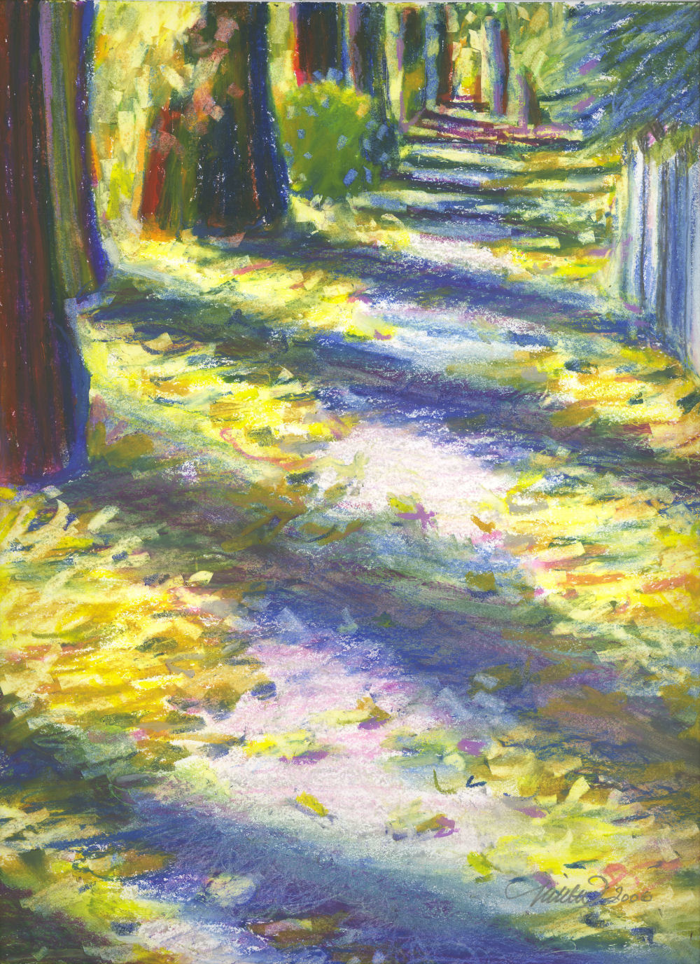 Calgary In September - Elm tree leaves, neighborhood by Memorial Drive, Calgary, Alberta, Canada - 14 x 11 inches oil pastels on paper