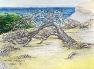 The Great Ocean Road, east coast Australia, 11 x 14 Oil pastels and graphite on paper
