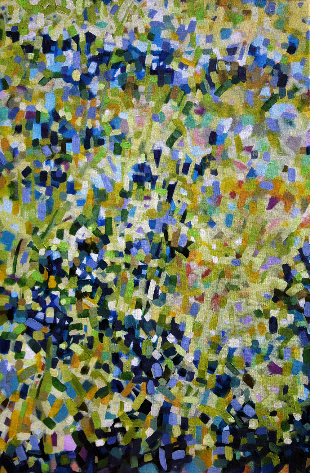Bluebonnets Abstract 36H x 24W acrylics on canvas wrapped sides painted, narrow frame