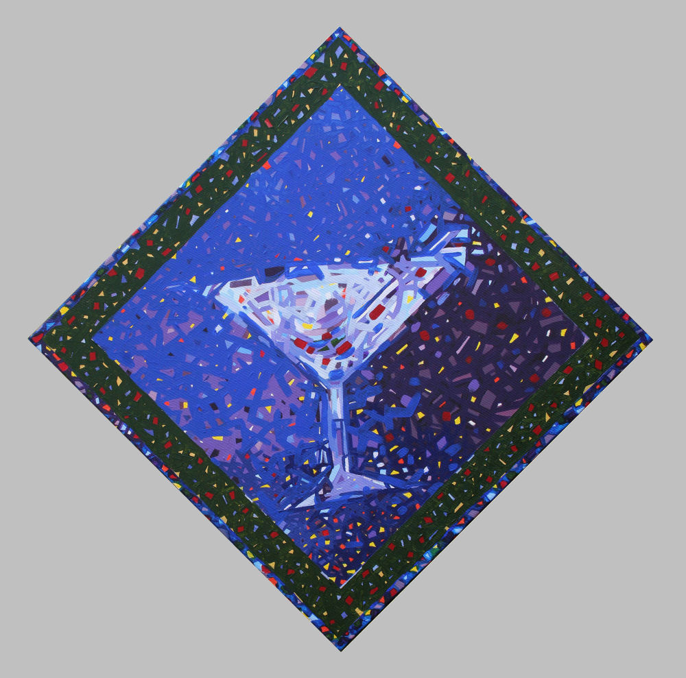 Artini, Shaken Not Stirred - 24 x 24 inches acrylics on stretched canvas, hung diagonally