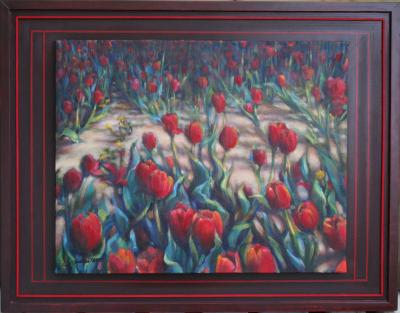 Dandelions Among the Tulips, framed size 22H x 28W inches