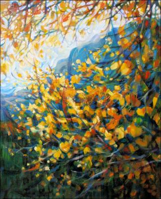 Gold In The Mountains #1, finished - 20 x 16 inches Acrylics on stretched canvas.