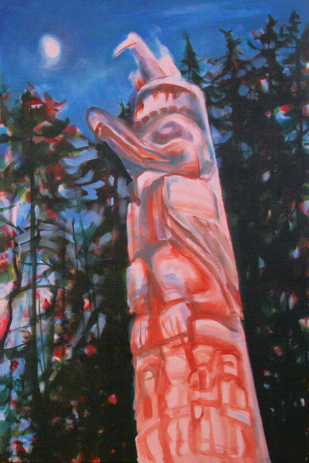 Magic Hour, one of the Haida totems downtown Victoria, B.C., Canada, 60H x 40W x 3D inches acrylics on canvas, wrapped sides painted, work just started
