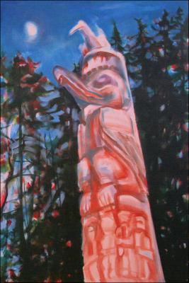 Magic Hour , one of the Haida totems downtown Victoria, B.C., Canada, 60 x 40 x 3 Acrylics on wrapped canvas. Phase 2, work in progress.