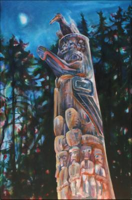 Magic Hour - one of the Haida totems downtown Victoria, B.C., Canada, 60 x 40 x 3 inches Acrylics on wrapped canvas. Phase 3, work in progress..
