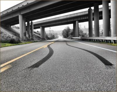 Skid marks under Hwy 40 overpass, outside of Nashville TN