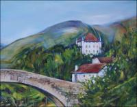 Saint Etienne de Baigorry, Le pont romain - Chateau d\'Etchaux - 24 x 18 x 1 inch Acrylics on wrapped canvas, top right detail