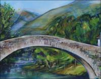 Saint Etienne de Baigorry, Le pont romain - Chateau d\'Etchaux - 24 x 18 x 1 inch Acrylics on wrapped canvas, central detail