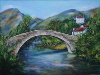 Pays Basque, Saint Etienne de Baigorry, Le pont romain - Chateau d\'Etchaux - 24 x 18 x 1 inch Acrylics on wrapped canvas, gift