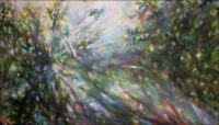 Sun Shower #4, 49 x 84 x 3 inches, Acrylics on wrapped canvas, custom built stratcher frame, work in progress