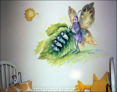 Momarch Butterfly, 1999 model home wall mural in baby nursery, inspired the Mommy Nature series