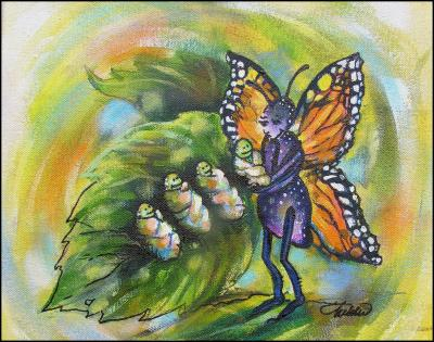 Momarch Butterfly, Mommy Nature series, 11 x 14 Acrylics on canvas 2004. Prints and Cards available, see link above.