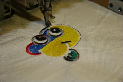 Adrian's Computerized industrial embroidery machine, testing colored threads and fine tuning with Monte program, 2009
