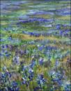 Bluebonnets, Marble Falls, Texas - 16 x 20 inches acrylics on canvas, central detail, early stage