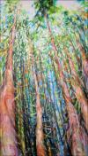 Dancing With Trees 03, signature piece for the Majesty of Trees solo exhibition, 85 x 45 x 3 inches acrylics on canvas