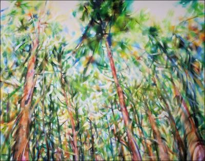 Dancing With Trees 03, upper portion of 85H x 45W x 3D inches acrylics on canvas
