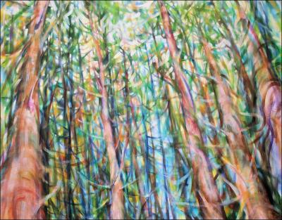 Dancing With Trees 03, central portion of 85H x 45W x 3D inches acrylics on canvas