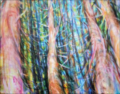 Dancing With Trees 03, lower portion of 85H x 45W x 3D inches acrylics on canvas