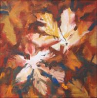 Ceiba Leaves, Lake Cote Cloud Forest floor, Costa Rica, 11 x 11 x 3 inches acrylics on canvas, work in progress