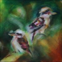Kookaburras, 11 x 11 x 3 inches, phase 2 work in progress.