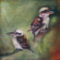 Kookaburras, phase 4 work in progress. Composition unbalanced; needs third element on left background
