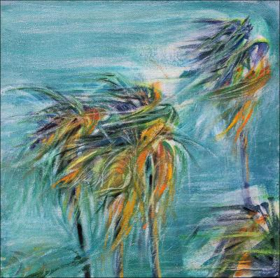 Chapala Wind, 11H x 11W x 3D inches acrylics on canvas, wrapped sides painted