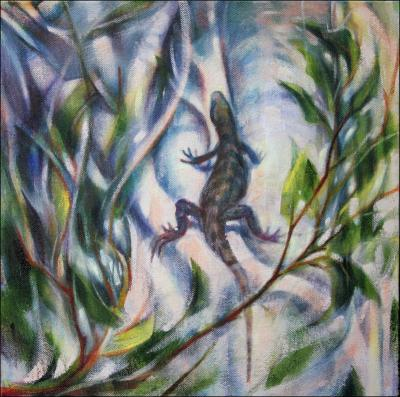 Iguana on a Strangler Fig, 11H x 11W x 3D inches acrylics on canvas, wrapped sides painted