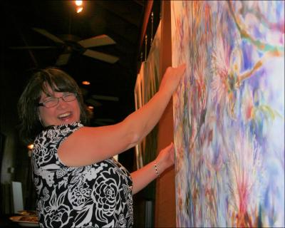 Unveiling the painting, Flowering Shavingbrush Tree at Carino's in Denton, TX