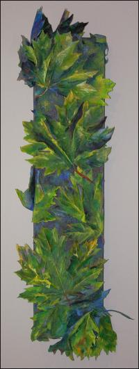 What Big-Leaf Maples Do At Night - Day look -20 x 57 x 4 inches Muslin, white glue, acrylics on canvas, 30 LED lights system