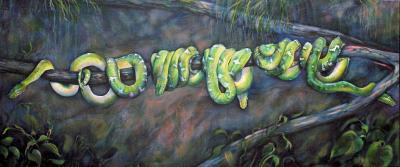 Emerald Tree Boas, 24 x 57 x 2 inches acrylics on canvas, wrapped sides painted, a study in progress, almost finished