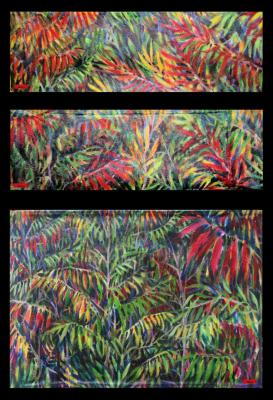 Sumac Bushes, front and back details, acrylics on canvas; functional