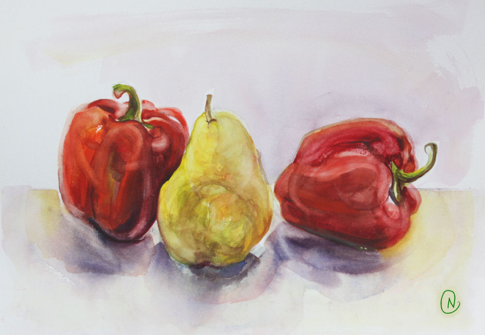 Red peppers and pear study 01, 11H x 14W inches watercolors on 120 lb premium