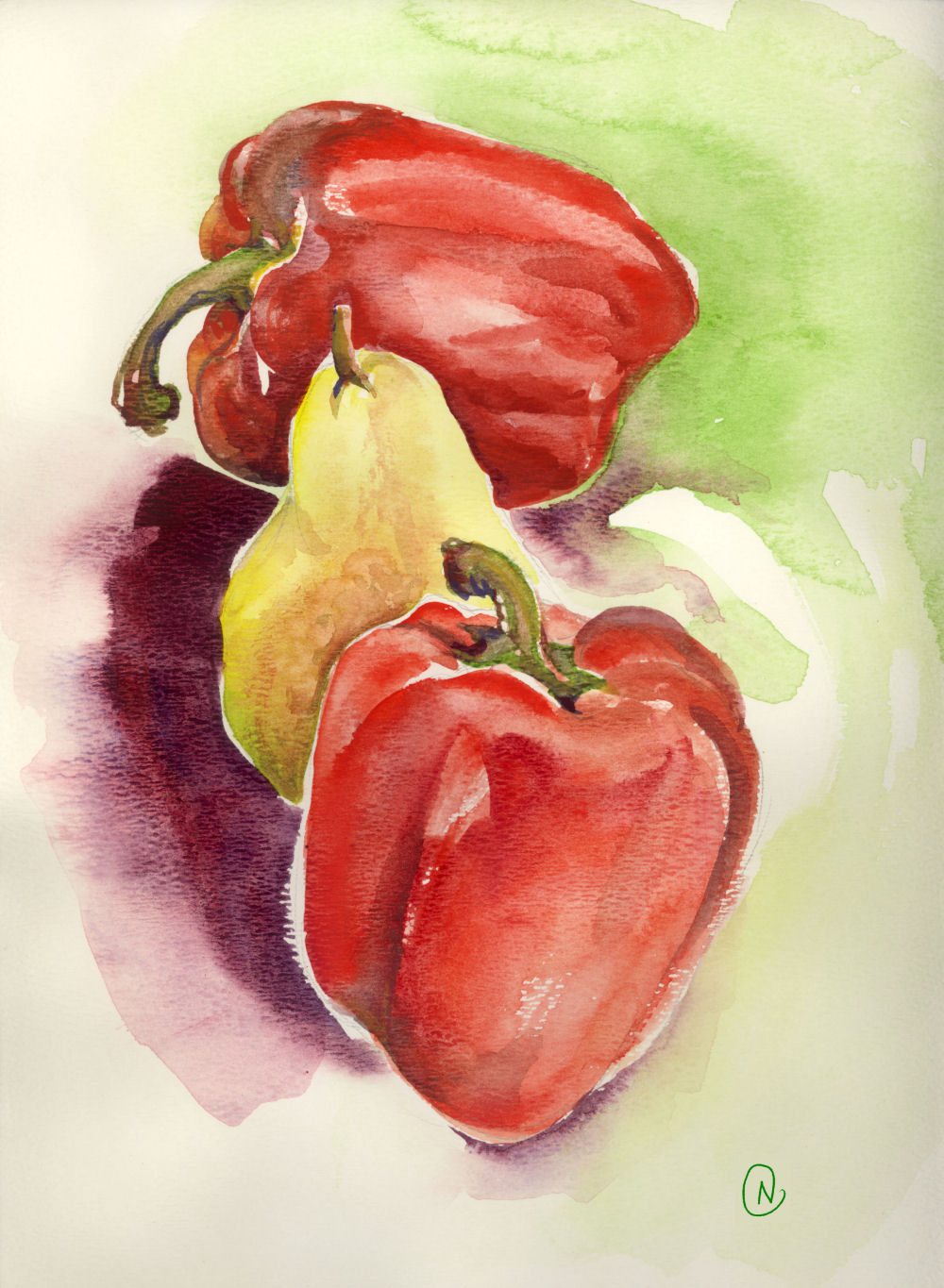 Red peppers and pear study 02, 14H x 11W inches watercolors on 120 lb premium
