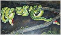 Right detail, Boas' Christmas, construction paper, cotton balls taped on Emerald Tree Boas, 24 x 57 x 3 inches acrylics on canvas