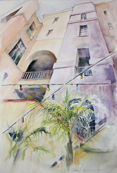 Buildings, San Antonio, Texas 22 x 15 inches watercolors