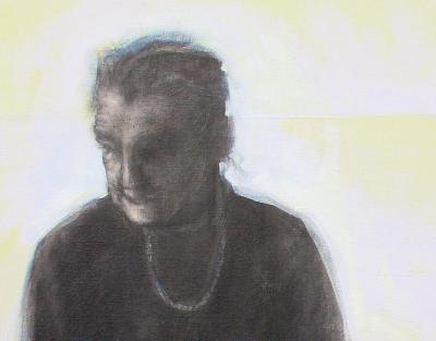 Portrait of Alzheimer's: A Heart Filled to the Brim, detail, water soluble graphite, acrylics on canvas, gallery wrapped