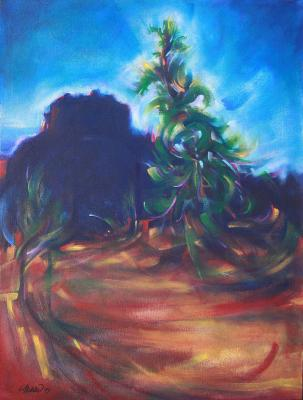 Dawn at Bell Rock, 24 x 18 x 2 inches acrylics on canvas, gallery wrapped sides painted