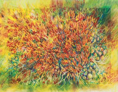Milkweed Melody, 27H x 33W inches framed Oil Pastels on 140 lb cold pressed premium watercolor paper