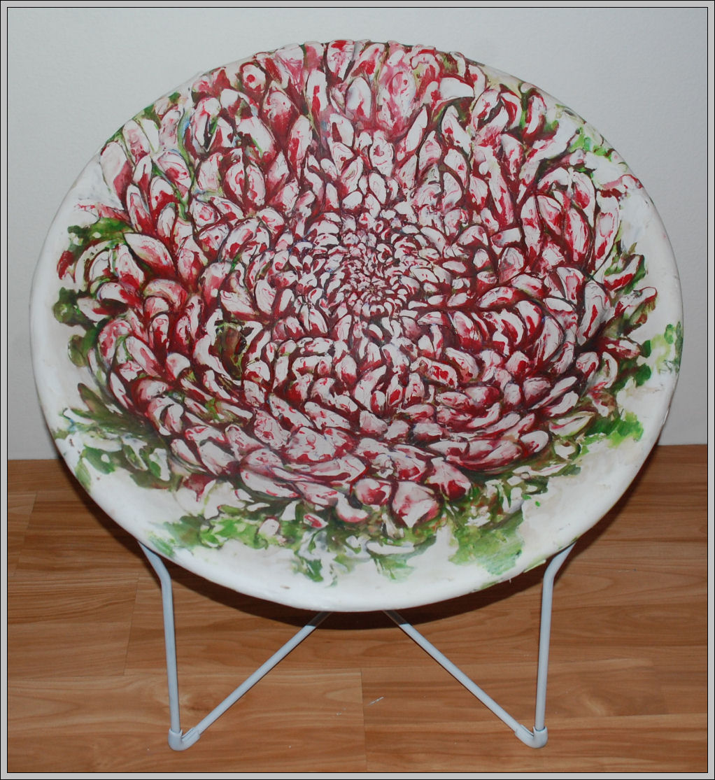 Chrysanthemums Chair, 29H x 29W x 29D mixed media, carved front and back