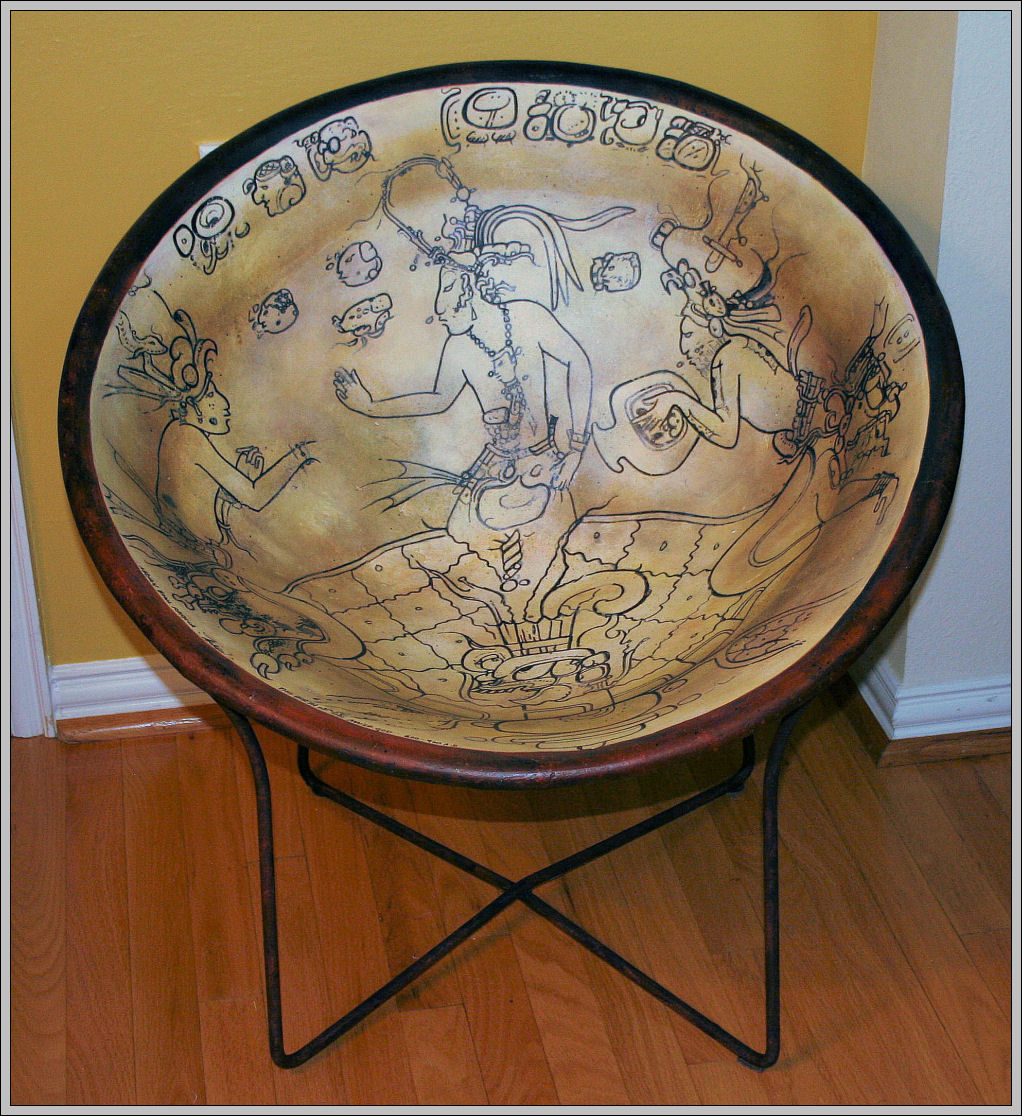 Mayan Bowl Replica Chair, 29H x 29W x 29D inches mixed media furniture